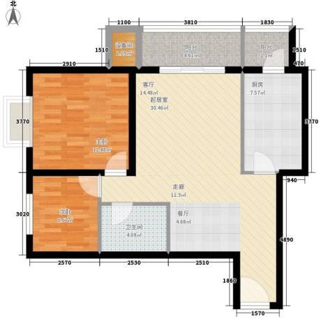 百合小筑2室0厅1卫1厨85.00㎡户型图