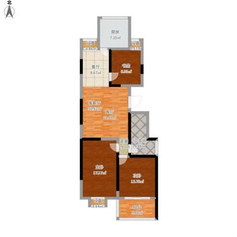文泰康城3室1厅1卫1厨133.00㎡户型图