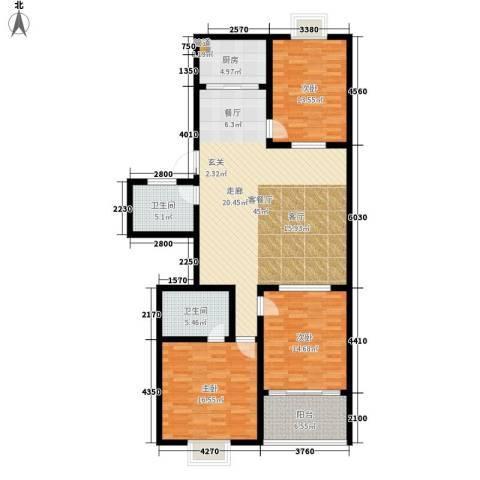 红园小区3室1厅2卫1厨125.00㎡户型图