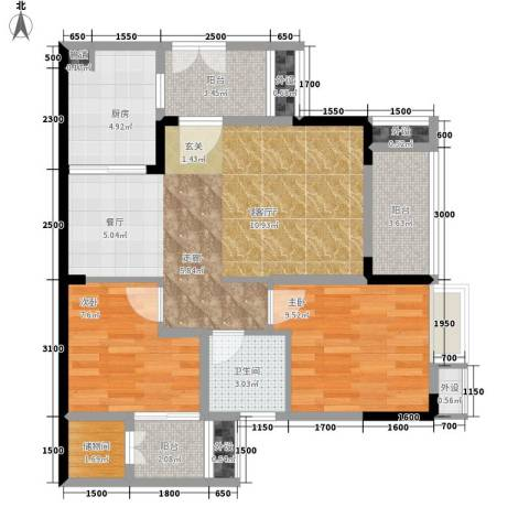 保利椰风半岛2室1厅1卫1厨62.00㎡户型图