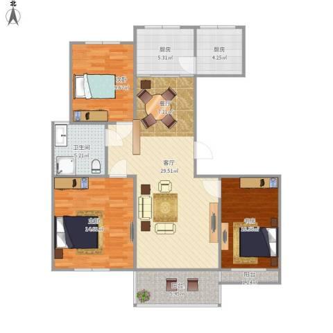 皇都佳苑3室1厅1卫2厨116.00㎡户型图