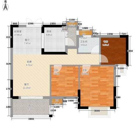中恒公园大地花园3室0厅1卫1厨89.00㎡户型图