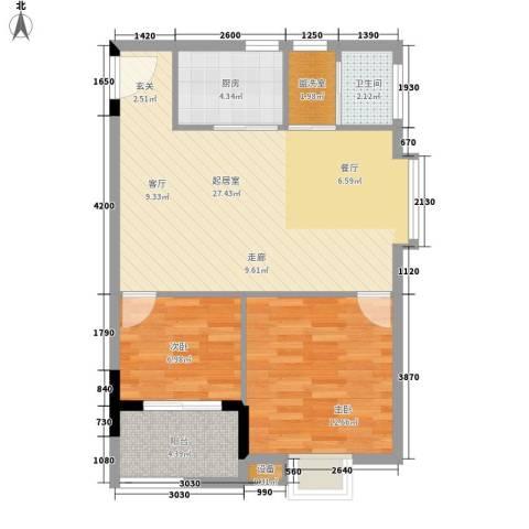 西源鑫大厦2室0厅1卫1厨83.00㎡户型图