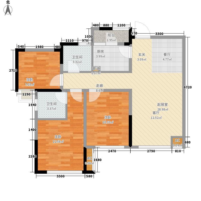 海亮樾金沙88.18㎡一期1、3、4号楼标准层C户型