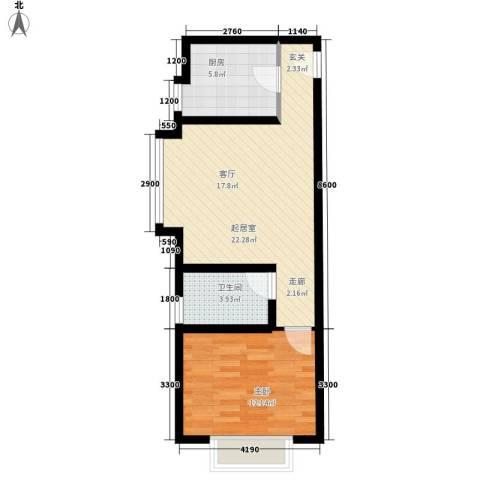 复兴之门1室0厅1卫1厨64.00㎡户型图