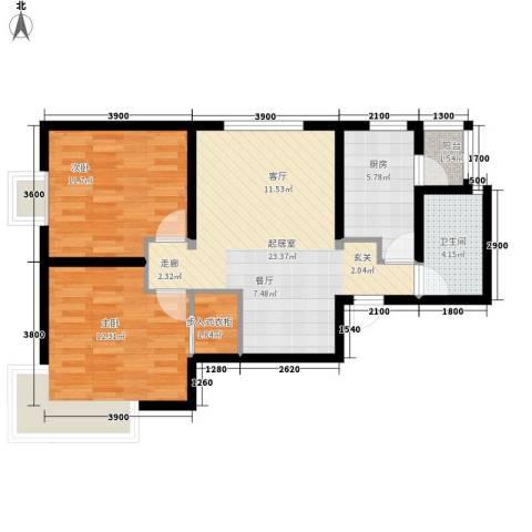 复兴之门2室0厅1卫1厨89.00㎡户型图