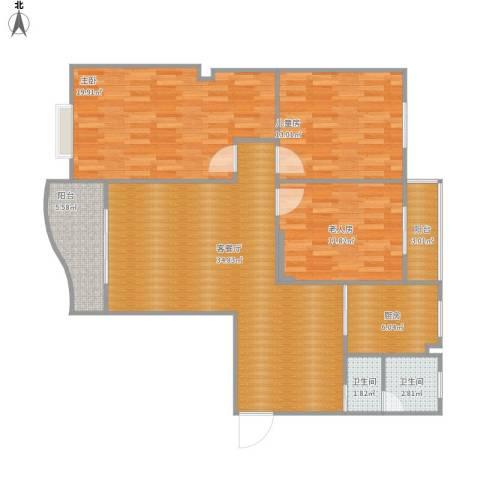 白云公馆3室1厅2卫1厨133.00㎡户型图