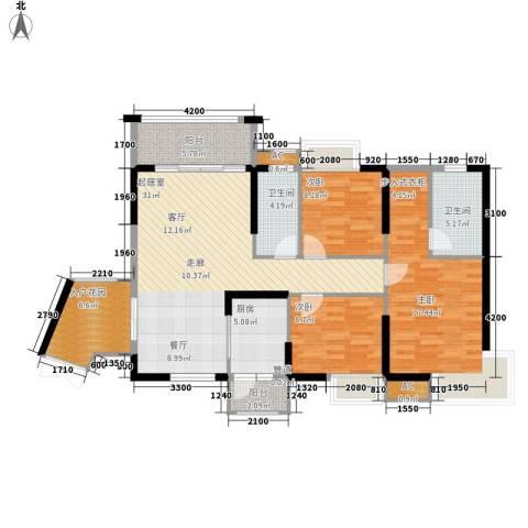 中恒公园大地花园3室0厅2卫1厨112.00㎡户型图