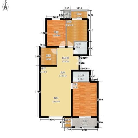 百合小筑3室0厅2卫1厨122.00㎡户型图