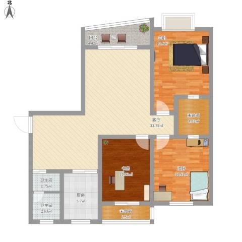 白云公馆3室1厅2卫1厨134.00㎡户型图