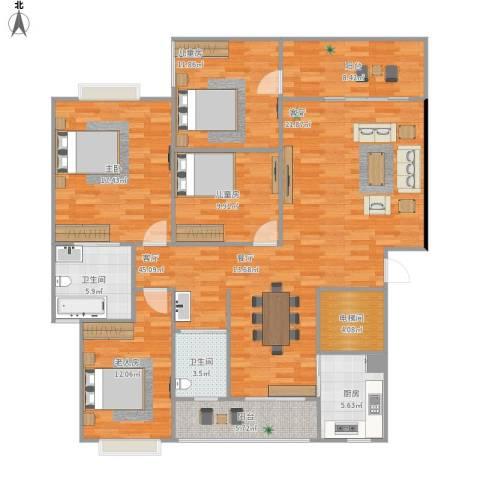 中天瑞景城4室1厅2卫1厨174.00㎡户型图