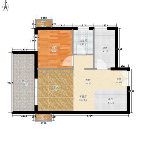 城南时代1室1厅1卫1厨61.00㎡户型图