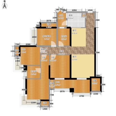 中海北滨华庭3室1厅2卫1厨162.00㎡户型图