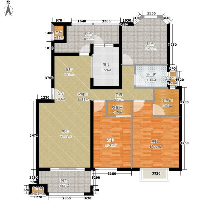 中建大观天下132.00㎡Bb1户型 三室两厅两卫户型3室2厅2卫