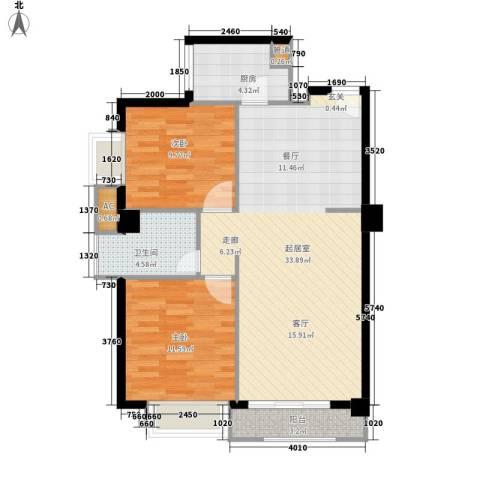 山水华景2室0厅1卫1厨90.00㎡户型图