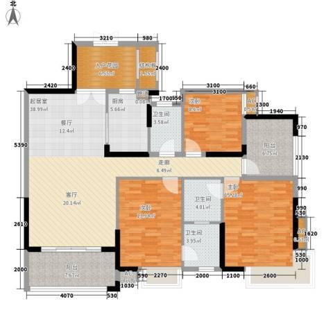 中恒公园大地花园3室0厅3卫1厨138.00㎡户型图