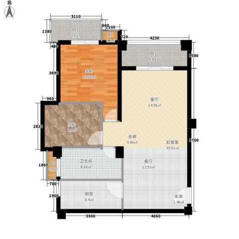 山水华景2室0厅1卫1厨84.00㎡户型图