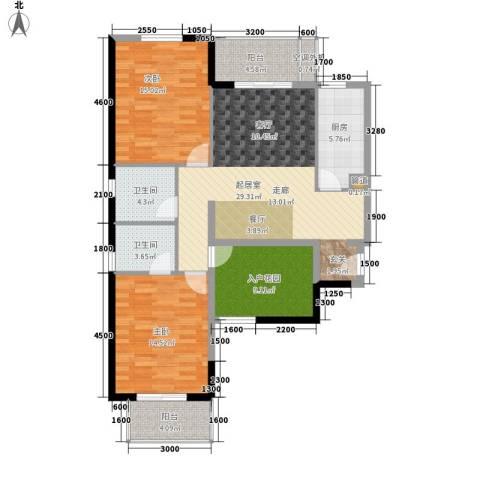 东方名都2室0厅2卫1厨129.00㎡户型图