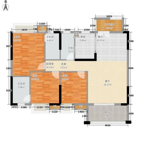 中恒公园大地花园3室0厅3卫1厨127.00㎡户型图