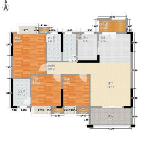 中恒公园大地花园3室0厅3卫1厨149.00㎡户型图