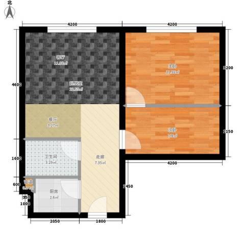 东方名都2室0厅1卫1厨73.00㎡户型图