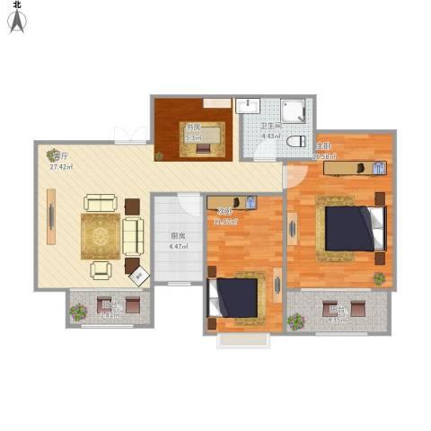 四季名门城市公寓2室1厅1卫1厨96.00㎡户型图