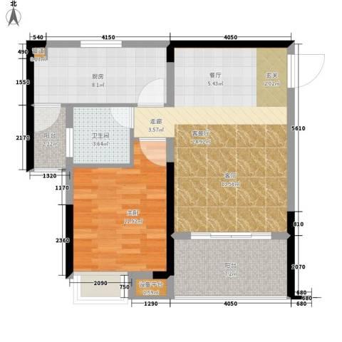 奥林匹克花园红城1室1厅1卫1厨67.00㎡户型图