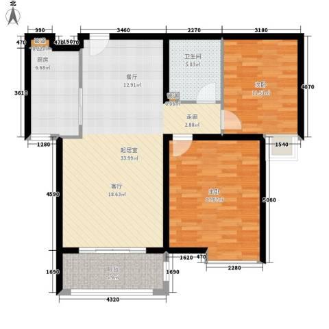 宏城国际公寓2室0厅1卫1厨95.00㎡户型图