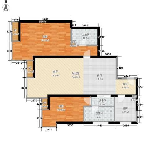 宏城国际公寓2室0厅2卫1厨113.00㎡户型图