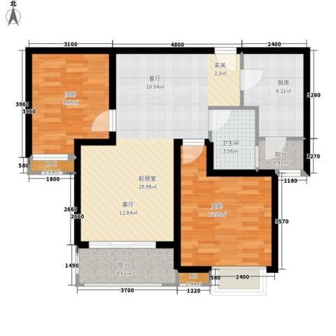紫铭小区2室0厅1卫1厨87.00㎡户型图
