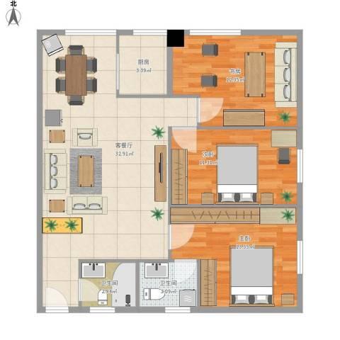 东山康城3室1厅2卫1厨107.00㎡户型图