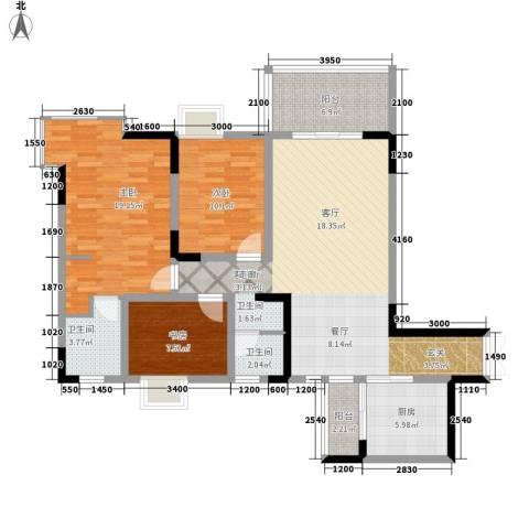 国窖明城3室1厅2卫1厨100.00㎡户型图