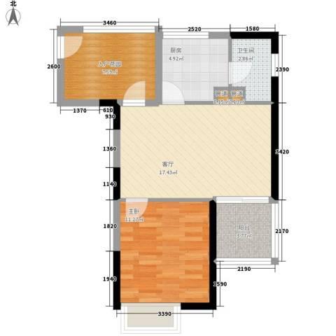 泰盛花园1室1厅1卫1厨69.00㎡户型图