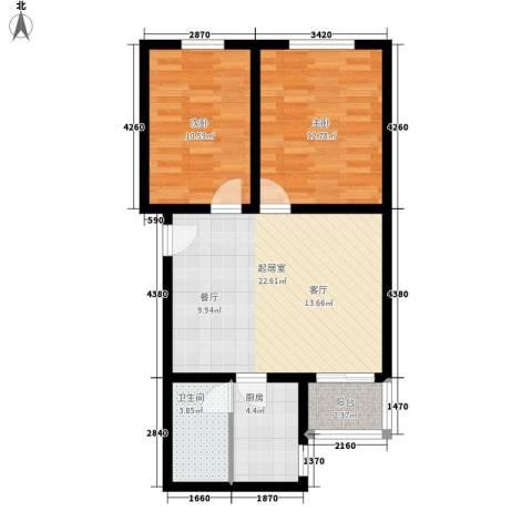 齐鲁药厂宿舍2室0厅1卫1厨65.00㎡户型图