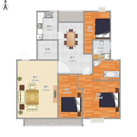 西子山庄3室2厅1卫1厨137.00㎡户型图