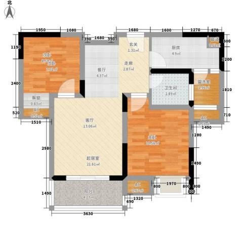 大鼎世纪滨江2室0厅1卫1厨59.00㎡户型图