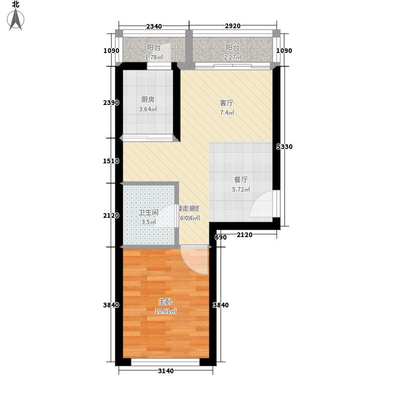 青年城邦2单元04室户型1室1厅