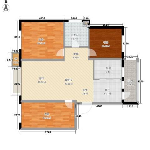 银湖馨苑3室1厅1卫1厨110.94㎡户型图