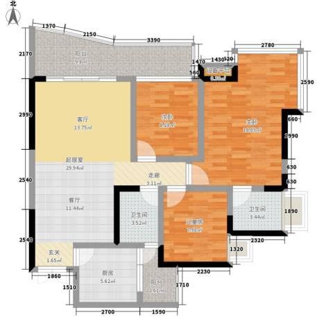 雅典汇3室0厅2卫1厨92.00㎡户型图
