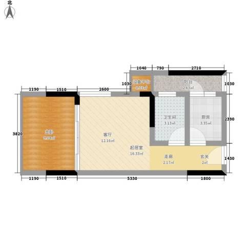 雅典汇1室0厅1卫1厨35.21㎡户型图