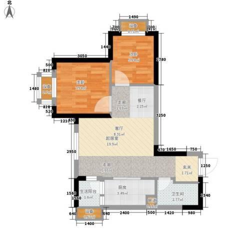 重庆国际家纺城绣色2室0厅1卫1厨46.00㎡户型图