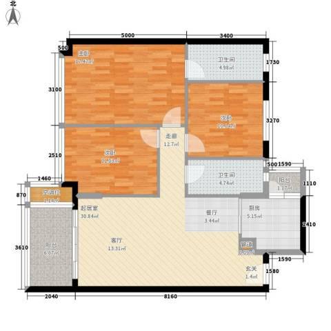裕兴花园3室0厅2卫1厨140.00㎡户型图