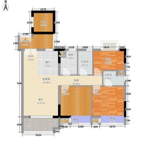 城央御景3室0厅2卫1厨107.00㎡户型图