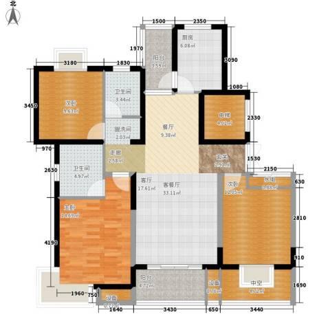 博威・江南明珠苑3室1厅2卫1厨150.00㎡户型图