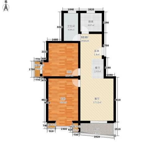 东湖庄园2室1厅1卫1厨100.00㎡户型图