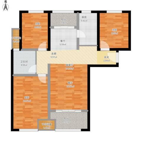 鑫苑景城3室1厅1卫1厨134.00㎡户型图
