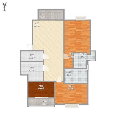 金泰丝路花城沁园3室2厅2卫1厨115.00㎡户型图
