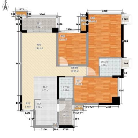 增城雅居乐御宾府3室0厅2卫1厨119.00㎡户型图