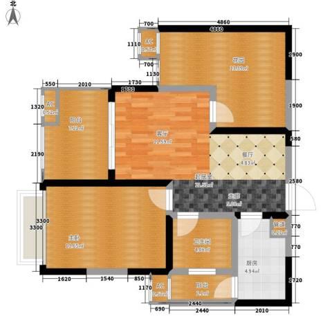 蓝光凯丽香江1室0厅1卫1厨76.00㎡户型图