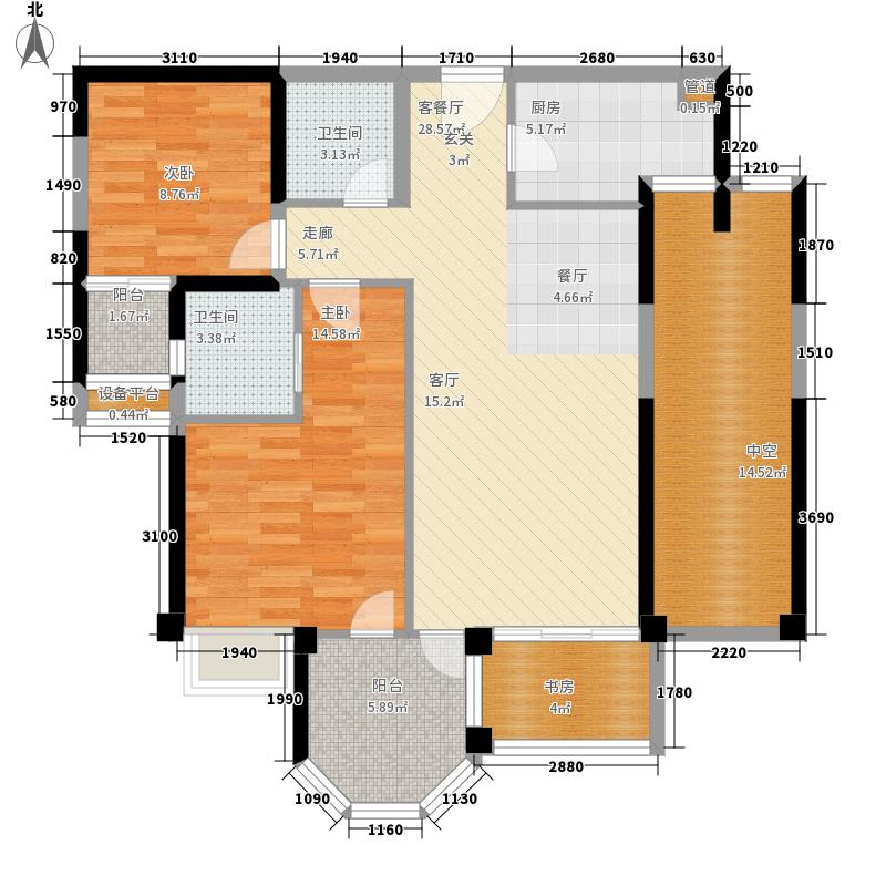 建发中央湾区104.00㎡一期9#、12#楼02、03单元C2户型3室2厅